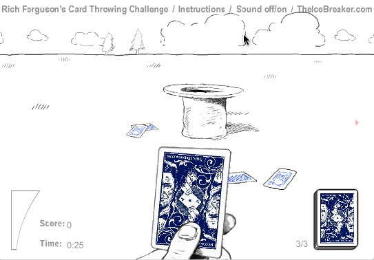 Play Card Throwing Challenge